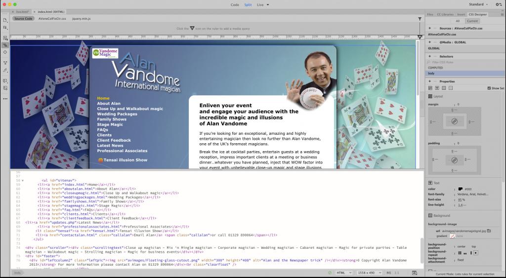 A client website, being developed in Adobe Dreamweaver